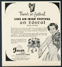 1955 An Tostal festival woman with violin art Ireland travel vintage print ad