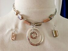 KC KENNETH COLE FAUX MOTHER OF PEARL SILVER TONE NECKLACE & EARRINGS PIERCED