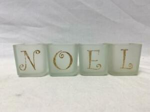 Christmas Noel Votive Candle Holders Set Clear Frosted Glass In Gold Glitter