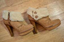 GENUINE Women's UGG Insulated Leather Heels Shoes size EU38 UK 5.5