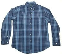 Polo Ralph Lauren Men's Size Large Linen Silk Blend Blue Plaid Long Sleeve Shirt