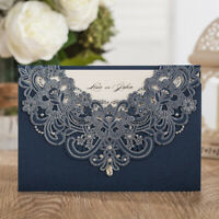 Laser Cut Wedding Invitations Cards Kit RSVP Rhinestone Personalized Printing