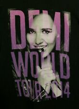 DEMI LOVATO World Tour 2014 Concert Sz Small Black T-Shirt Avalanche Neon lights