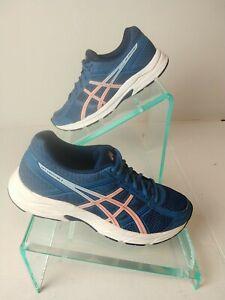 Women's ASICS Gel Contend 4 Blue/ White Running Walking Workout Shoe Sz 9.  #873