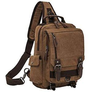 Retro Messenger Bag Canvas Shoulder Backpack One Straps Travel Rucksack Brown