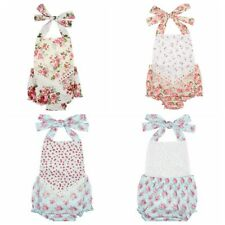 Baby girl toddler floral pattern tie back petti romper photo prop one-pieces