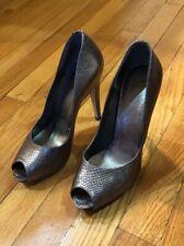 54a51d4f54f7 Salvatore Ferragamo Metallic Silver Gunmetal Peep Toe Heels Pumps Shoes 7
