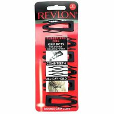 Revlon Rubberized Double Grip Black Hair Clips Comb Teeth All Day Hold 6 Count
