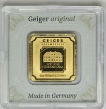 Rare Geiger Edelmetalle 10G 10 Gram 999.9 Fine Gold Square Bar Sealed In Assay