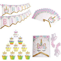 Happy Birthday Garlands Banners Unicorn Paper Cake Topper Birthday Party Decor