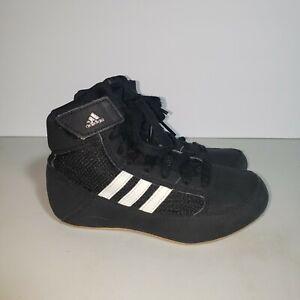 Size 11K Adidas HVC 2 Boys Youth Wrestling Shoes Black White Tan AQ3327