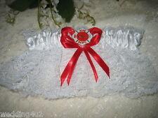 Fireman Firefighter WEDDING MALTESE Bridal Garter WHITE