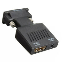 1080P VGA Male to HDMI Female Adapter Converter with USB Audio Cable DT