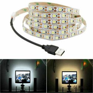 5V USB LED Strip Light White TV Backlight Lamp Self Adhesive Flexible Tape Wire