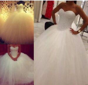 UK Hot Princess White/ivory Crystal Wedding Dress Bridal Gown Size 6-22