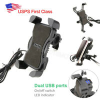 Motorcycle Bike Handlebar Mount Holder Dual USB Charger for Smart Phone GPS