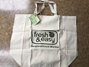 Fresh & Easy Neighborhood Market Market Beige Canvas Shopping Bag Out Of Busines