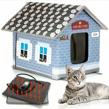 Blue Winter Weatherproof Outdoor Heated Easy to Assemble Block Cat|Dog House