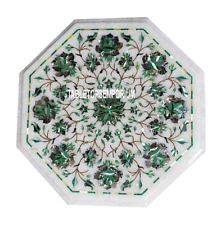 "12"" White Marble Top Garden Table Malachite Pauashell Inlay Marquetry Work Decor"