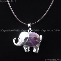 Natural Gemstones Elephant Pendant Reiki Healing Beads Chain Leather Necklace