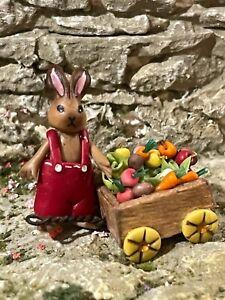 Vintage Miniature Dollhouse Artisan Sculpted Clay Boy Bunny Vegetable 1:48 Italy