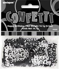 GLITZ BLACK AND SILVER HAPPY BIRTHDAY SCATTERS/CONFETTI 14GRAMS BIRTHDAY DECO