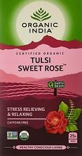 Organic India Tulsi Sweet Rose Tea -25 Tea Bags (Stress Relieving Caffeine Free)