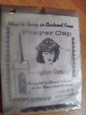 Vintage Prayer Cap White Nylon Lace Round Chapel Head Covering NOS