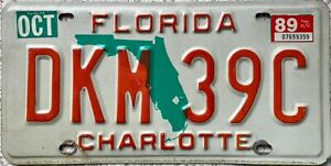 Florida Green Map Charlotte County American License Licence Number Plate DKM 39C