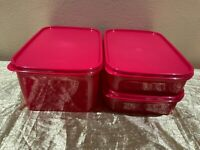 New Set of 3 Tupperware Modular Mates in a Beautiful Shade of Red