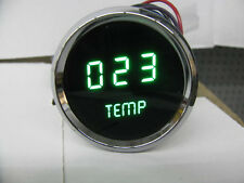 LED Digital WATER TEMPERATURE GAUGE W/ Sender GREEN LEDs! Chrome Bezel Dash Auto