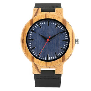 Wood Watch for Men Wooden Bamboo Watch Leather Strap Quartz Movement Watches