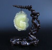 Very Exquisite Chinese Hand-carved Fish Natural Xiuyan Jade Statue wood frame