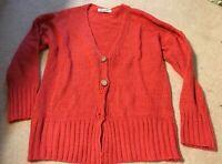 Women's Sweater Womens Cardigan Size Sz L Large Orange Sweaters Top