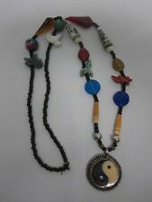 VINTAGE NATIVE AMERICAN GLASS BEAD CARVED STONE YIN YANG PENDANT NECKLACE