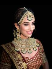 Gold Plated Bollywood Indian Kundan Bridal Jewelry Necklace Set Green Chandbali