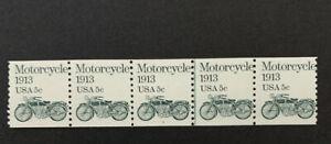 F8/56 US Stamp 1899 5c Center Line Plate #1 Coil Strip 5 MNH Nice