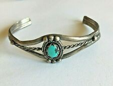 ANTIQUE STERLING TURQUOISE GIRLS BRACELET CUFF NATIVE AMERICAN