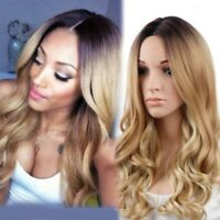 Women Ladies Blonde Ombre Hair Black Root Full Wig Fashion Style Long Curly Wigs