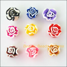15 New Charms Polymer Fimo Clay White Side Flower Spacer Beads Mixed 10mm