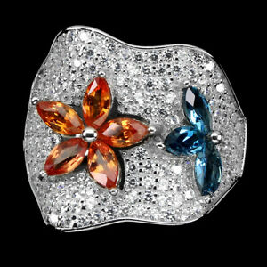 Marquise Sapphire 5x2.5mm London Blue Topaz Cz 925 Sterling Silver Ring Size 8