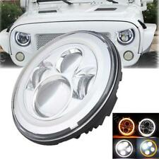 7'' Round LED Headlight Halo Angel Eyes DRL For Jeep Wrangler TJ JK New