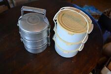 3x contenedor de alimentos Checoslovaca Caja de almuerzo portátil Calientaplatos guerra fría de 3 niveles