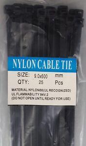 "24"" Black Nylon Cable Tie Zip Heavy Duty Plastic Wire - Pack of 25pcs"