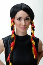 Lady Wig Wig Pigtails Fan Football Em World Cup Germany Black Red Gold xr-014