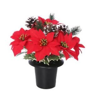 Christmas Memorial Grave Crem Pot Red Poinsettia Holly Flower Snowy Cones 28cm