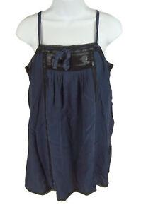 Women's Joie Navy Silk Lace Trim Cami Tank Top Size M