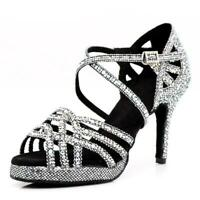 Scarpe da ballo con plateau sandali tessuto grigio nero argento aperti spuntati