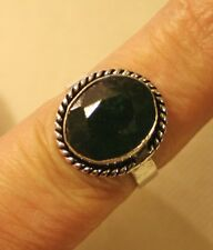 Lovely Rope Round Small Deep Green Faceted Stone 925 Silver Finger Ring Size 7.5
