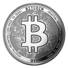 Bitcoin Cryptocurrency Comm. (BTC) - In Code We Trust 1 oz Silver USA BU Round